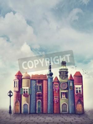Póster Ciudad mágica con libros antiguos