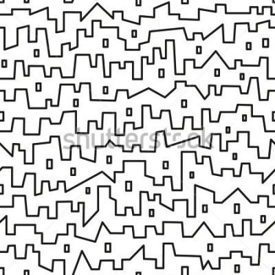 Póster ciudad - patrón de vector transparente