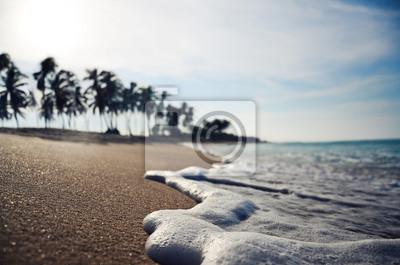 Close up de onda en una playa tropical dof