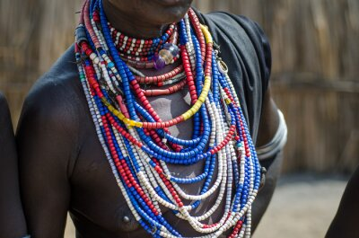Póster Close up of necklaces of Arbore tribe woman