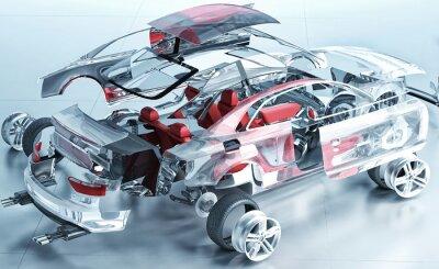 Póster coche transparente explotado