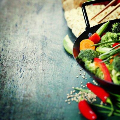 Póster Cocina china. Verduras para cocinar Wok.