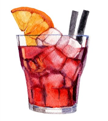 Póster Cocktail with ice and orange isolated on white background, watercolor illustration