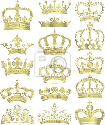 colección coronas de oro vector