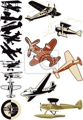 colección de avión y biplano viejo