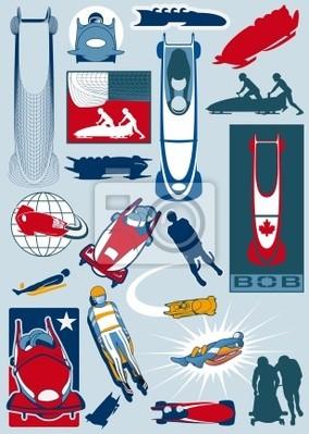 colección de deportes de trineo de invierno