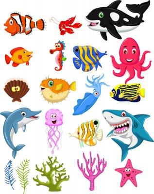 Póster colección de dibujos animados la vida marina