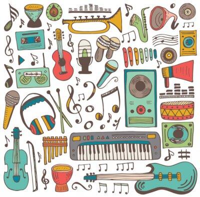 Póster Colección de dibujos musicales
