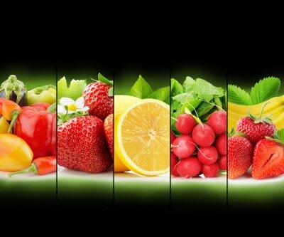 Póster Colección de franjas de frutas y hortalizas sobre fondo negro