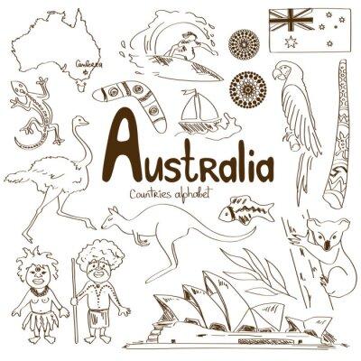 Póster Colección de Iconos de Australia