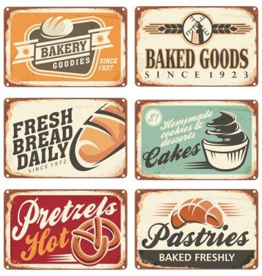 Póster Colección de muestras de panadería vector vendimia
