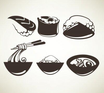 Póster colección de vectores de símbolos de comida japonesa
