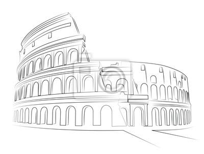 Coliseo De Roma Dibujo Vectorial Carteles Para La Pared Pósters