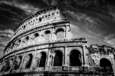 Póster Coliseo en Roma, Italia. Anfiteatro en blanco y negro