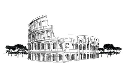 Póster Coliseo en Roma, Italia. Landmark Coliseum, paisaje de la ciudad.