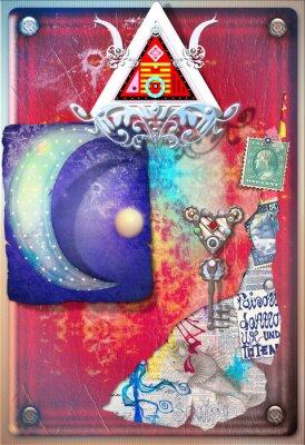 Póster Collage de fondo con restos coloridos, alquímicos, la luna estrellada y