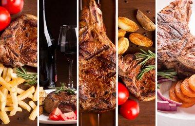Póster Collage de fotos de carne a la parrilla