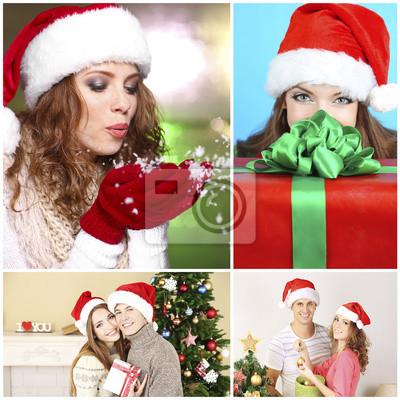 Gente Feliz En Navidad.Poster Collage De La Navidad Gente Feliz Joven