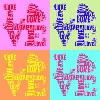 Póster Collage de palabras de colores de estilo pop art vendimia nube AMOR