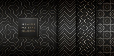 Póster Collection of seamless geometric golden minimalistic patterns. Simple vector graphic black print background. Repeating line abstract texture set. Stylish trellis gold square. Geometry web page fill.
