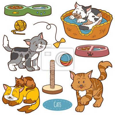 Póster Color Conjunto De Animales Domésticos Lindos Y Objetos Vector