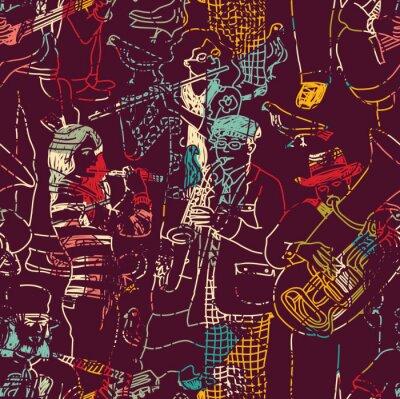 Póster Color de la música de jazz sin patrón de banda.