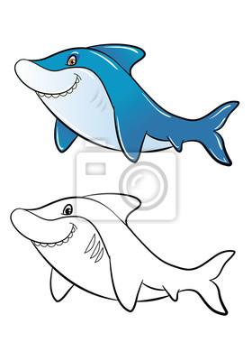 Color De Tiburón Historieta Divertida Y Esquema Para