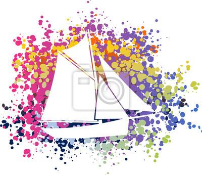 Póster coloré bateau voilier