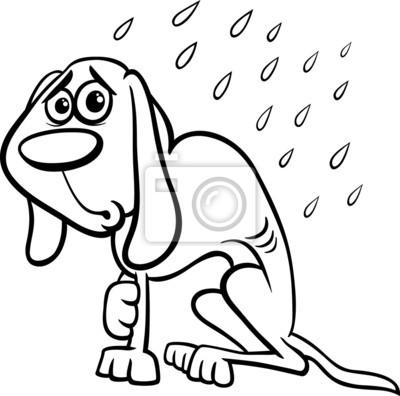 Colorear dibujos animados perro sin hogar carteles para la pared ...