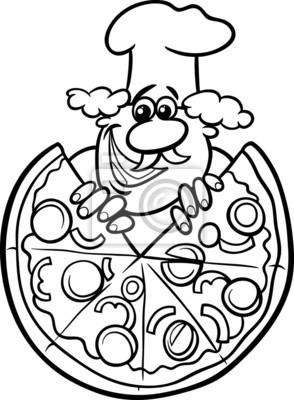 Póster Colorear Dibujos Animados Pizza Italiana