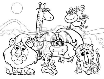 Colorear los animales salvajes de dibujos animados carteles para la ...