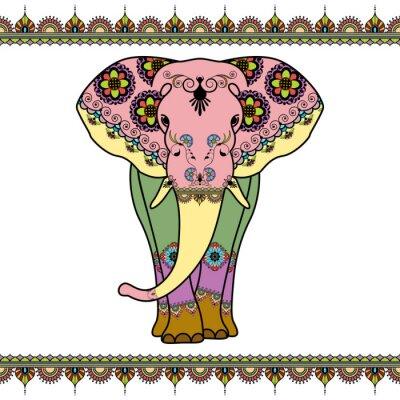 Póster Coloree el elefante con los elementos de la frontera en estilo étnico del mehndi. Vector ilustración en blanco y negro aislado sobre fondo blanco