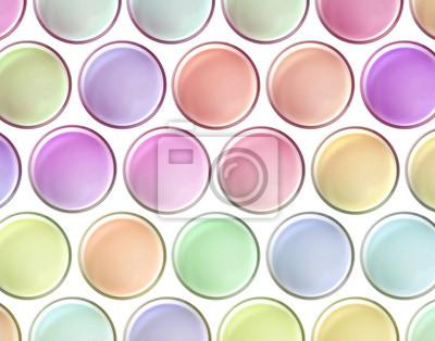 Colores multi ordeñan vista superior vibrante en el fondo blanco, conceptos
