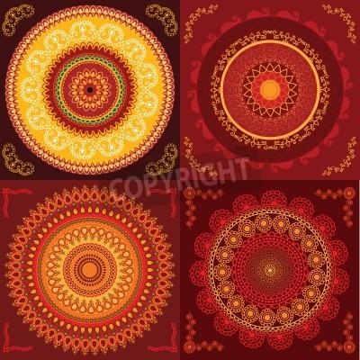 Póster Colorful Henna Mandala design, very elaborate and easily editable