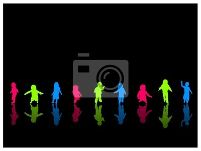 Colorful Kids Silhouettes
