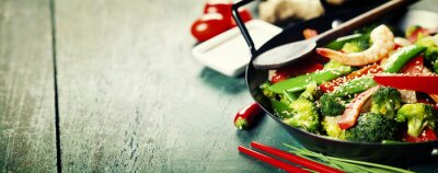 Póster colorful stir fry in a wok
