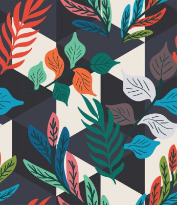 Póster Colorful tropical leaf, fern, and geometric hexagon diamond triangle seamless pattern. Trendy repeat geo vector swatch.