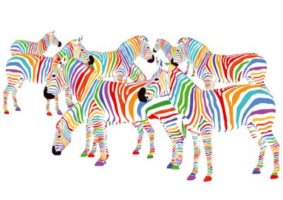 Póster Colorful Zebras