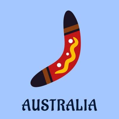 Póster Colorido boomerang aislado nacional australiano