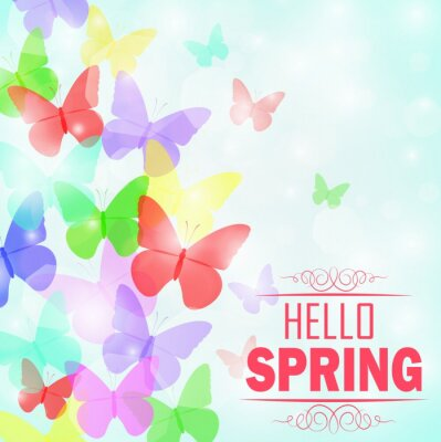Póster Colorido mariposas Fondo con texto Hola primavera