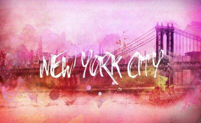 Póster Colorido panorama artístico de Nueva York de color rosa