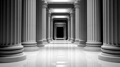 Póster Columnas de mármol blancos en una fila dentro de un edificio