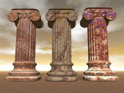 Póster Columnas de piedra - 3D render