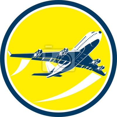 Comercial de la aerolínea Jet Plane retro del círculo