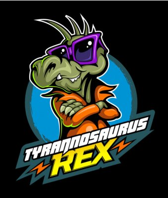 Póster Comic book, cartoon style tyrannosaurus in the leather jacket and with the sunglasses, vector image