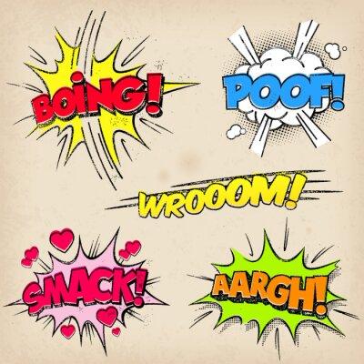 Póster Comic Efectos de sonido con estilo Grunged
