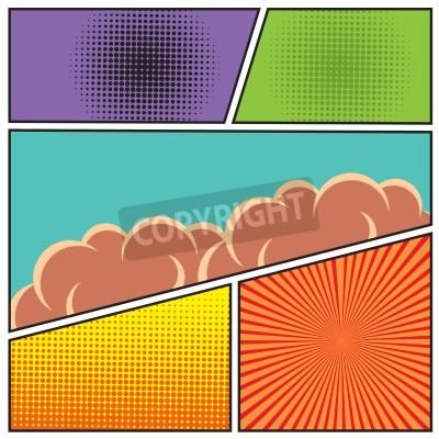 Póster Comics estilo de arte pop plantilla de diseño en blanco con las nubes vigas y puntos patrón de fondo ilustración vectorial
