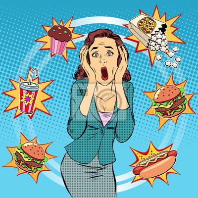 Comida rápida mujer insalubre dieta pánico