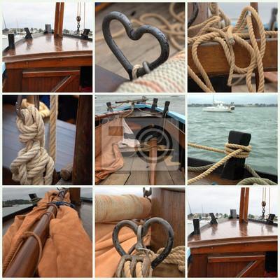 composition de bateau ,voilier de pêche ancien