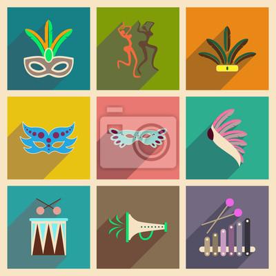 Póster Concepto de iconos planos con sombra de largo Carnaval de Brasil